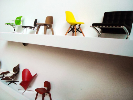 Kevin Grace's miniature modern chair collection.