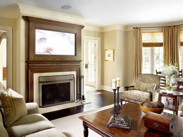 Fireplace and integrated TV designed by Karl Sponholtz.