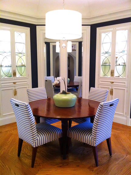Octagonal dining room designed by Meg Caswell.