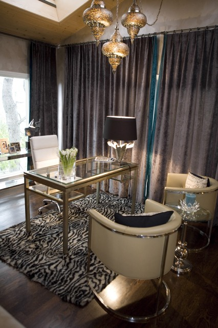 Kim Myles' glam office, designed for HGTV'd.