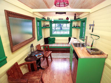 Meg Caswell's garish and dysfunctional tiny house.
