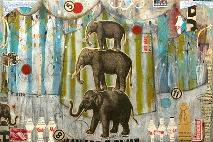 Stacked Elephants, by Judy Paul.
