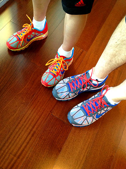 The award for best spectator shoes goes to this father/son duo.