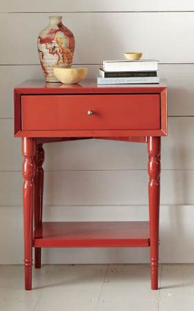 Turned-Leg Nightstand in Vermillion, $249.