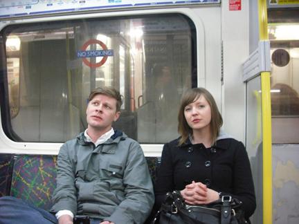 Hipsters on vacation: Matt and Krista hit the London Underground.