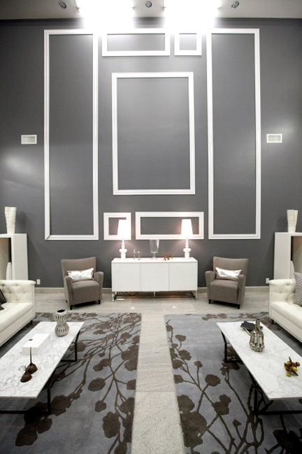 Oversized molding, undersized furnishings.