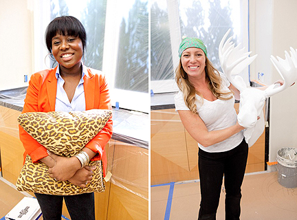 Hilari brings a leopard pillow to the mix...Rachel Kate, a white moose head.