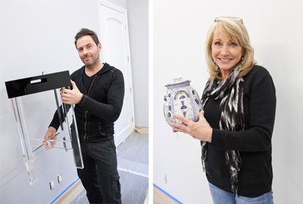Jordan adds a lucite side table from his own furniture line. Miera incorporates her ugly urn.
