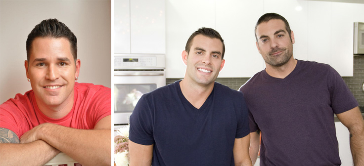 At left: Luca Paganico. At right: John Colaneri and Anthony Carrino are HGTV's Kitchen Cousins.