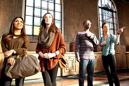 Passersby in Union Station. Are they ogling the designers' work or are they posing fora Gap ad?