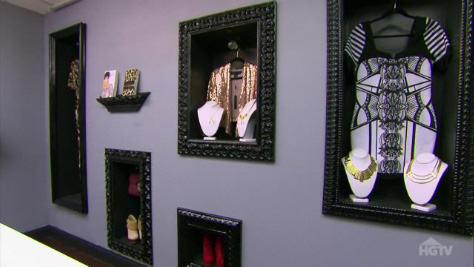 AFTER: Framed boxes display some of the Kardashians' licensed merchandise.