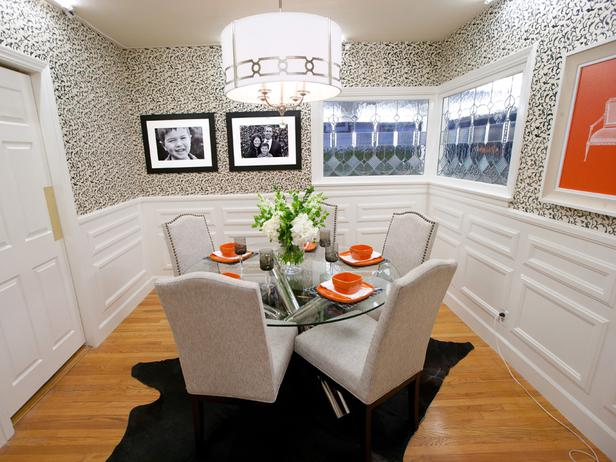 AFTER: Britany's dining room reboot features the portraits she creates for the homeowners.