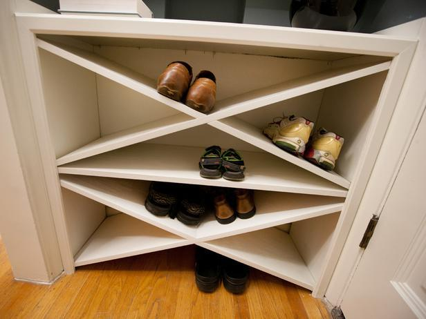 AFTER: Britany incorporates sophisticated-looking shoe storage into the entry.