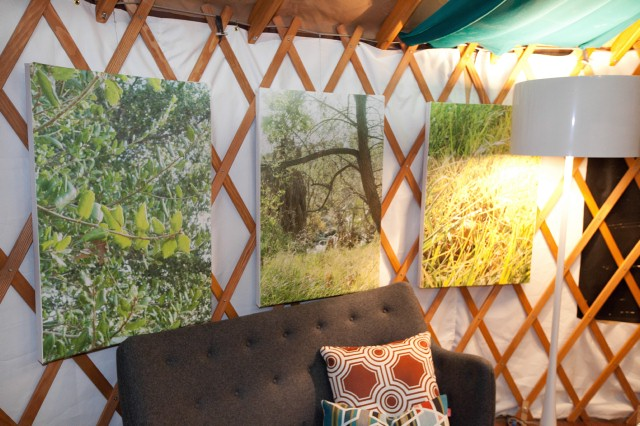 Britany incorporates enlarged prints of her photography into the yurt.