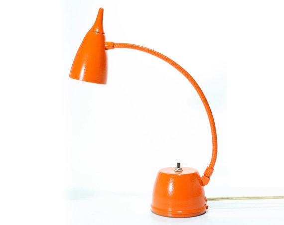 Orange mid-century desk lamp, $52