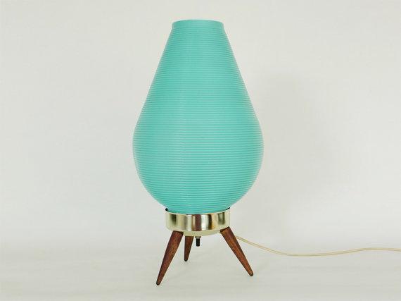 Turquoise bullet tripod lamp, $48.
