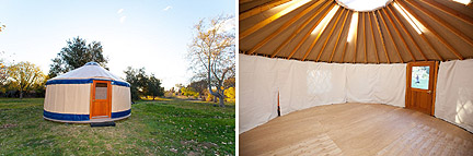Exterior and interior views of the designers' yurts.