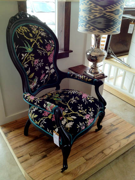 Victorian Chair, Black with Nature Print, by Elyse Lombardi of Austin, $750.