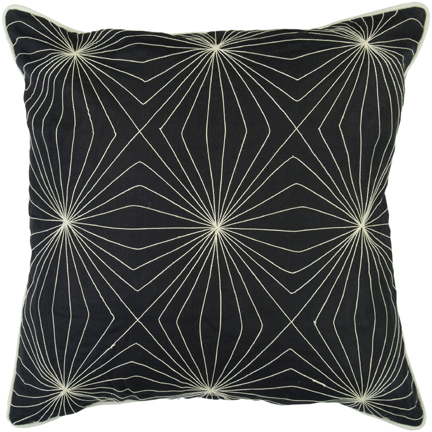 Overstock's Decorative Square Band Large Black/White Pillow, $46.99.