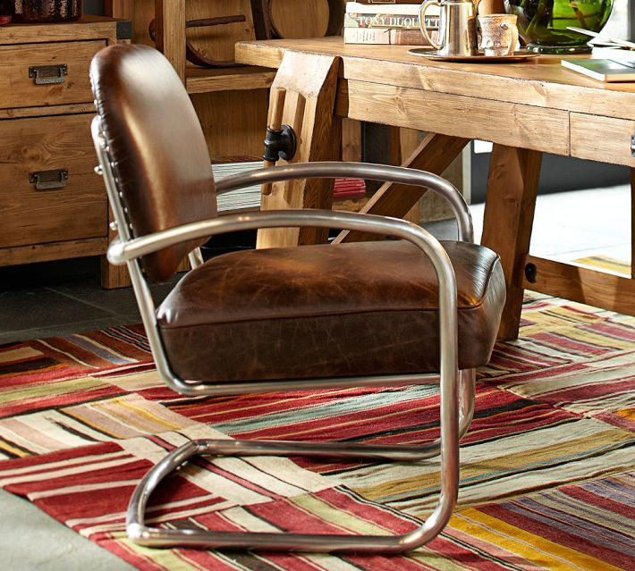 Archer Leather & Metal Desk Chair, $799.