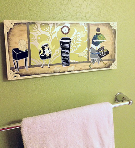 I purchased this humorous art by Etsy artist Emma Klingbiel for our bathroom. The horizontal piece is perfectly proportioned for hanging over the towel bar.