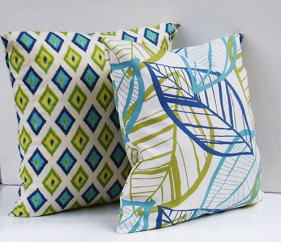 creativeladys-modern-blue-green-aqua-white-yellow-pillow-cover-leaf-ikat-diamond