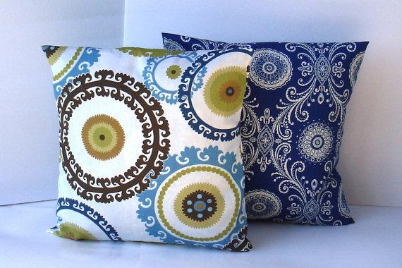 creativeladys-modern-blue-white-brown-green-navy-suzani-paisley-pillow-cover