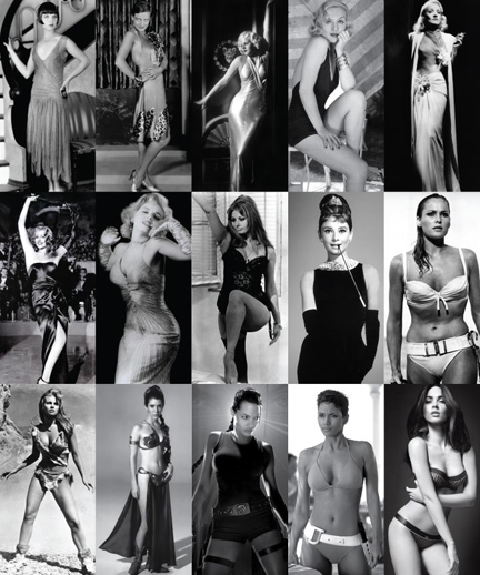 We hear so much about Hollywood body ideals so I did a quick visual survey of famous screen sirens since the 1920s. The type looks the same: a slightly underweight fertility goddess.