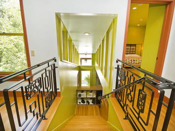 Great view down the stairs.