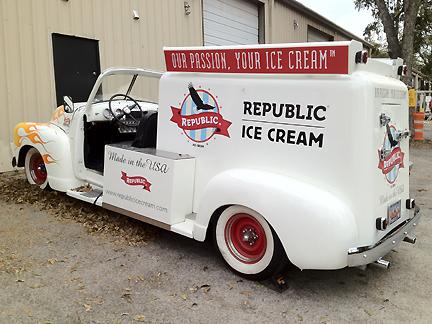 Republic Ice Cream vintage truck