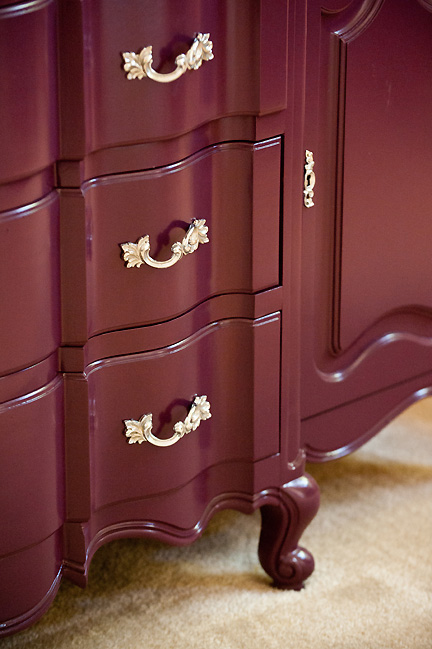 Antique buffet sideboard cabinet transformed with eggplant purple paint and chromed original hardware pulls. Designed by Room Fu - Knockout Interiors.