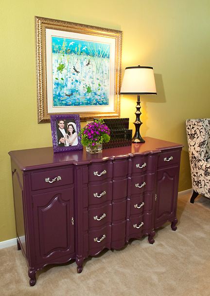 Antique Buffet Sideboard Cabinet Transformed With Eggplant Purple Paint And Chromed Original Hardware Pulls Designed