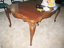 Antique dining table, before makeover by Room Fu - Knockout Interiors