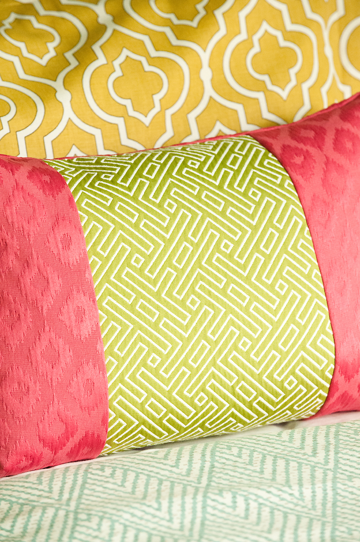bedding-fabrics-detail gold yellow lime pink pillows
