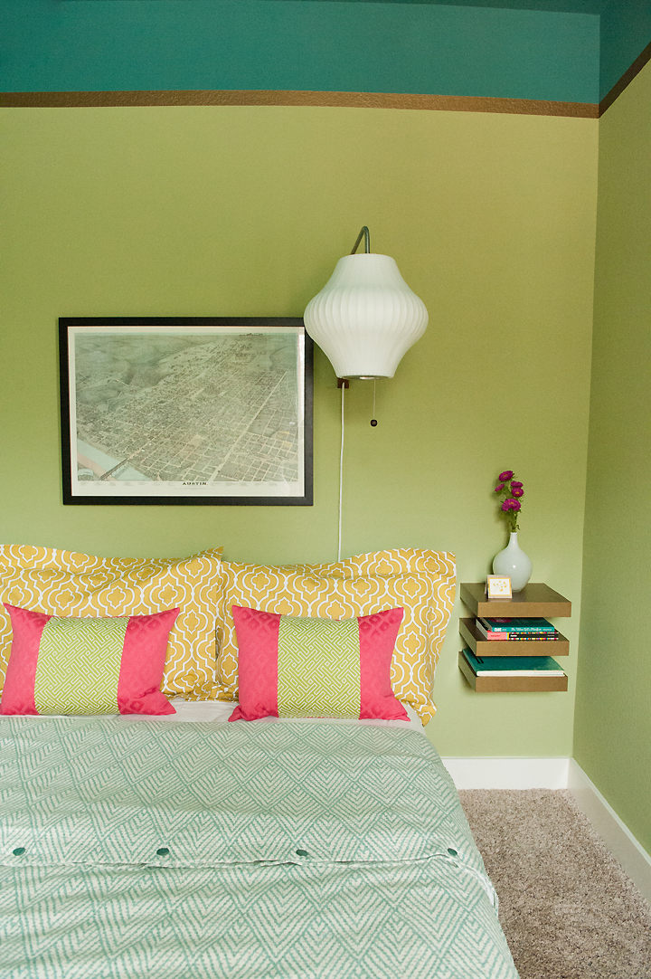 straight-shot-corner-view-bed-nightstand hot pink lime green turquoise gold