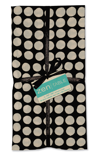 Black and Tan Dots Napkins, Set of 4: $17.50 @ Zen Deluxe.