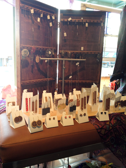 Laser cut wood jewelry by Austin's MAKEatx, sold at A-town.