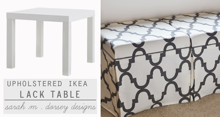 Sarah M. Dorsey provides a how-to on converting two Ikea Lack side tables into skirted ottomans with the addition of a shower curtain and a camper pad.