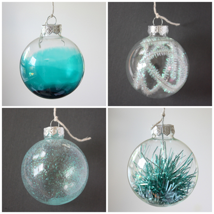 Four different DIY Christmas ornament projects by design blog, The Happy Home.