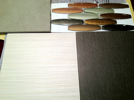 Tile and countertop selections for a Room Fu client's upcoming master bathroom remodel in Austin, TX.
