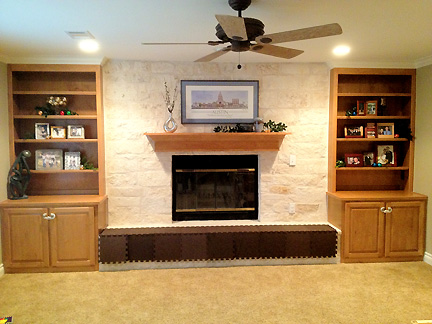AFTER: Natasha's living room built-ins and fireplace get a new look in Austin, TX.