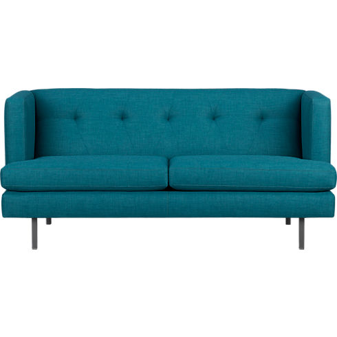 Avec apartment sofa from CB2, in peacock blue teal upholstery.