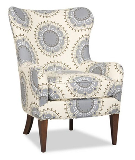 Upholstered modern wing chair at Back Home furniture store in Austin, TX.