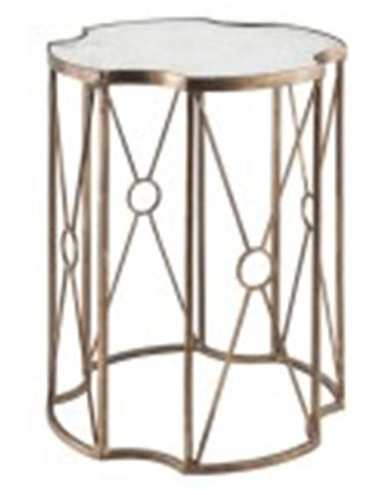 Gold leaf and mirror side table, available at Back Home Furniture in Austin, TX for $339.