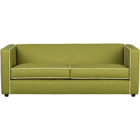 Club Moss green Sofa with piping, from cb2.