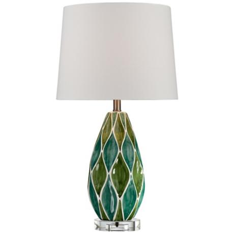 Two-Tone Green Ceramic Table Lamp