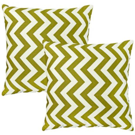 Set of 2 Green Chevron Zig Zag Toss Pillows
