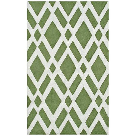 Diamante Green Handmade Indoor Outdoor Rug
