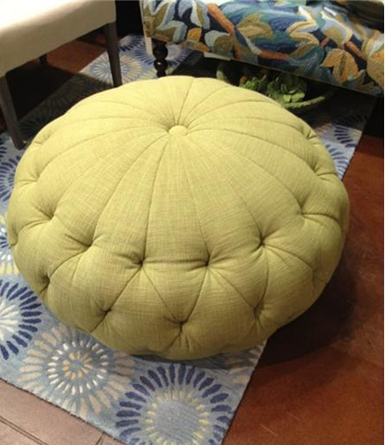 Lilly Pulitzer Singer Ottoman, a modern tufted pouf available at Heather Scott Home in Austin, TX for $799.99.