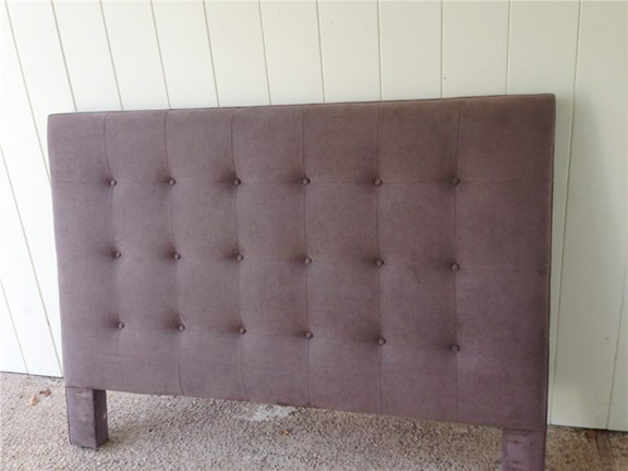 Queen size tufted suede headboard available via Red Chair Market in Austin, TX.